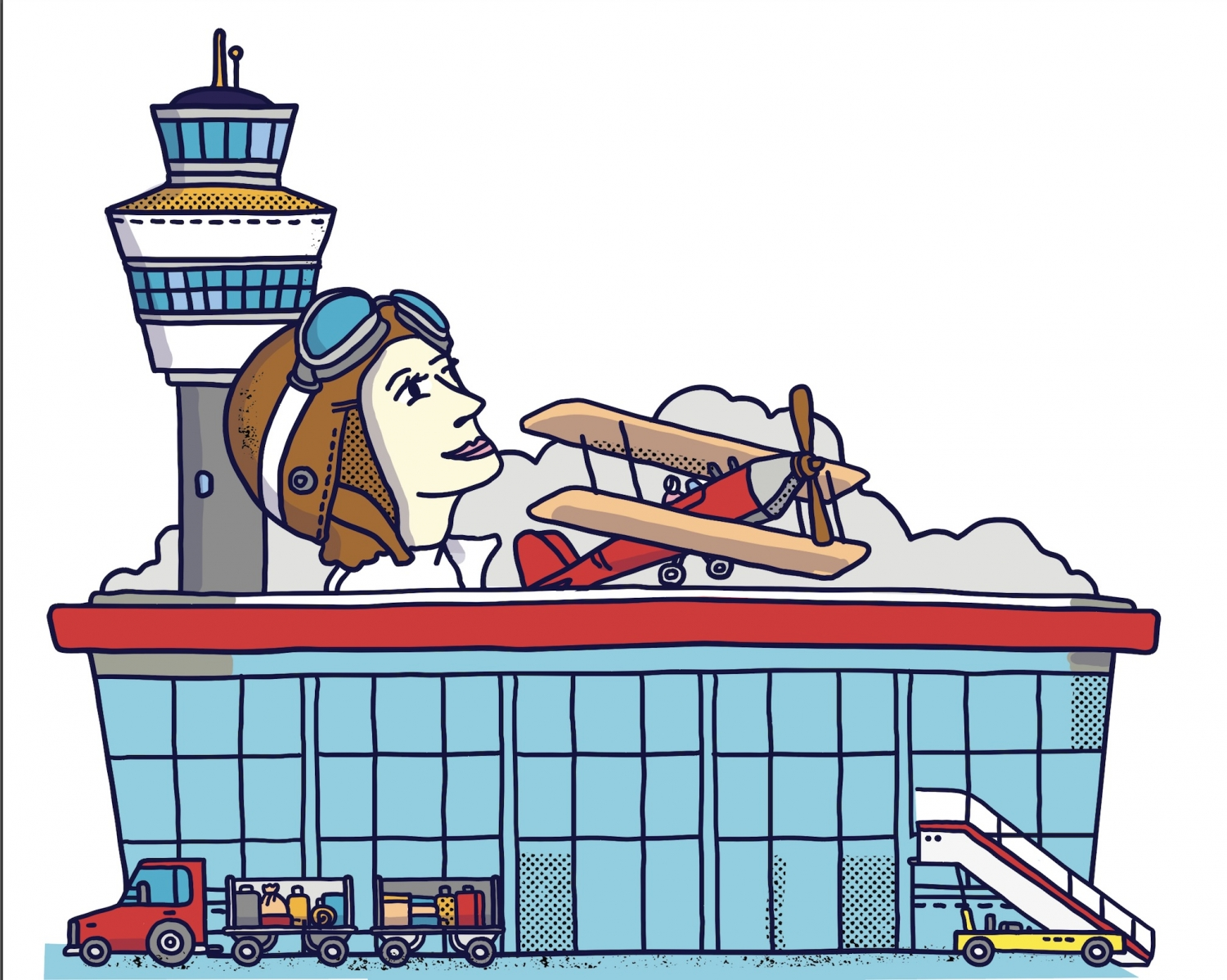 Illustration of woman wearing flying cap and goggles on head.