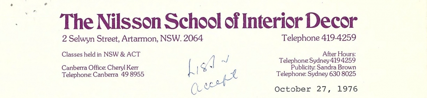 Nilsson school of interior design letterhead