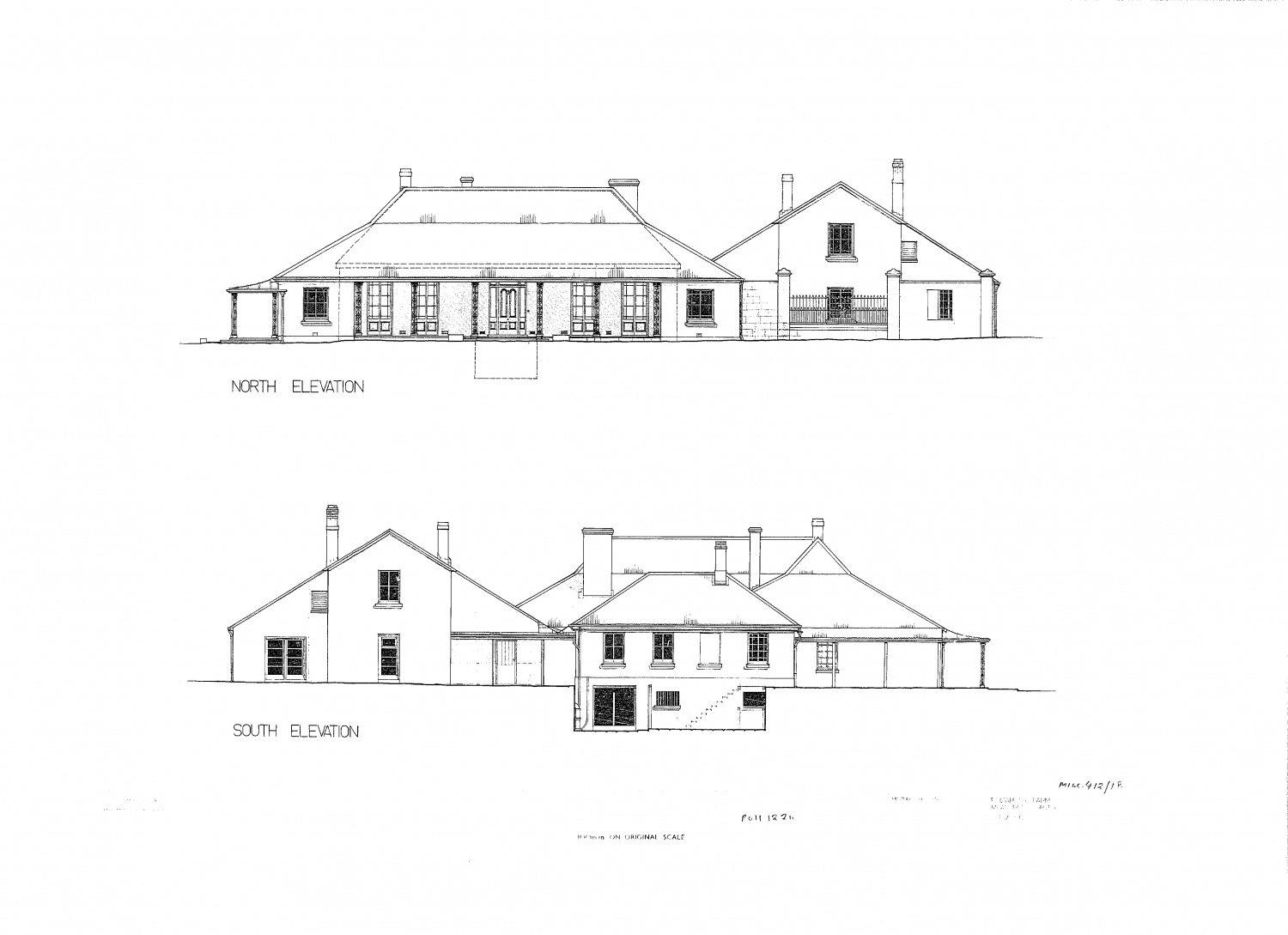 Detailed plan of building from front, with verandah detailed.