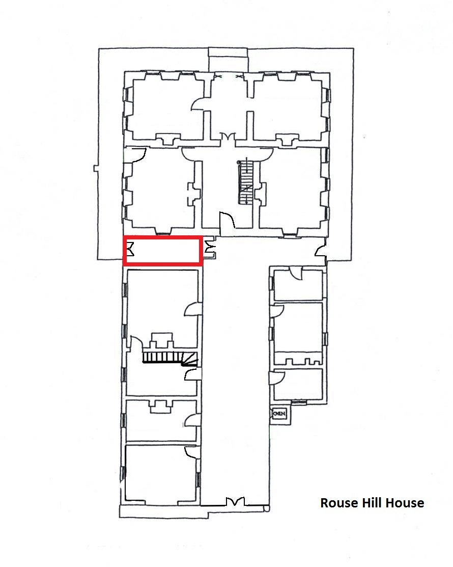 Hand drawn ground floor house plan with red outlined section halfway down left hand side.