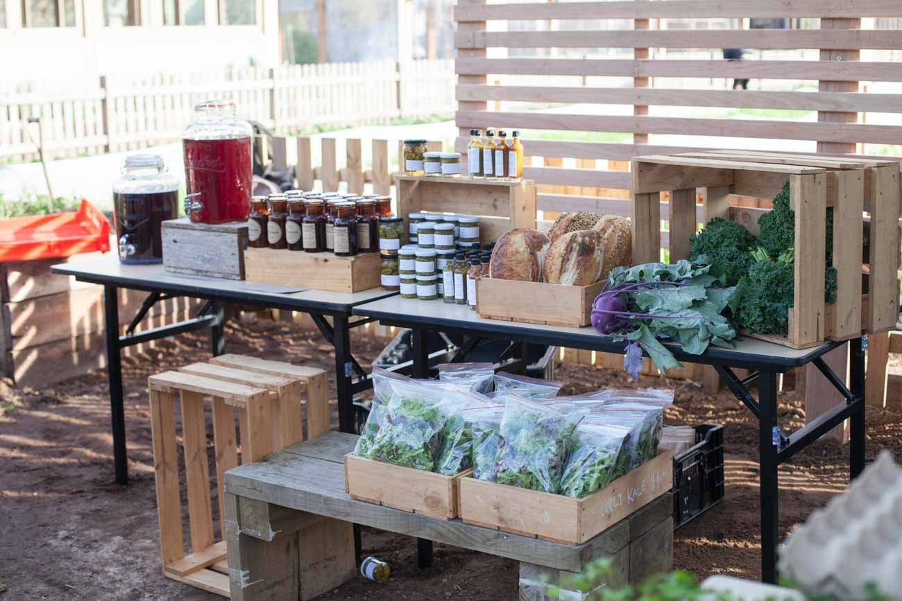 Stall with produce.