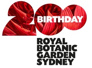 Waratah and 200 years logo for Royal Botanic Gardens