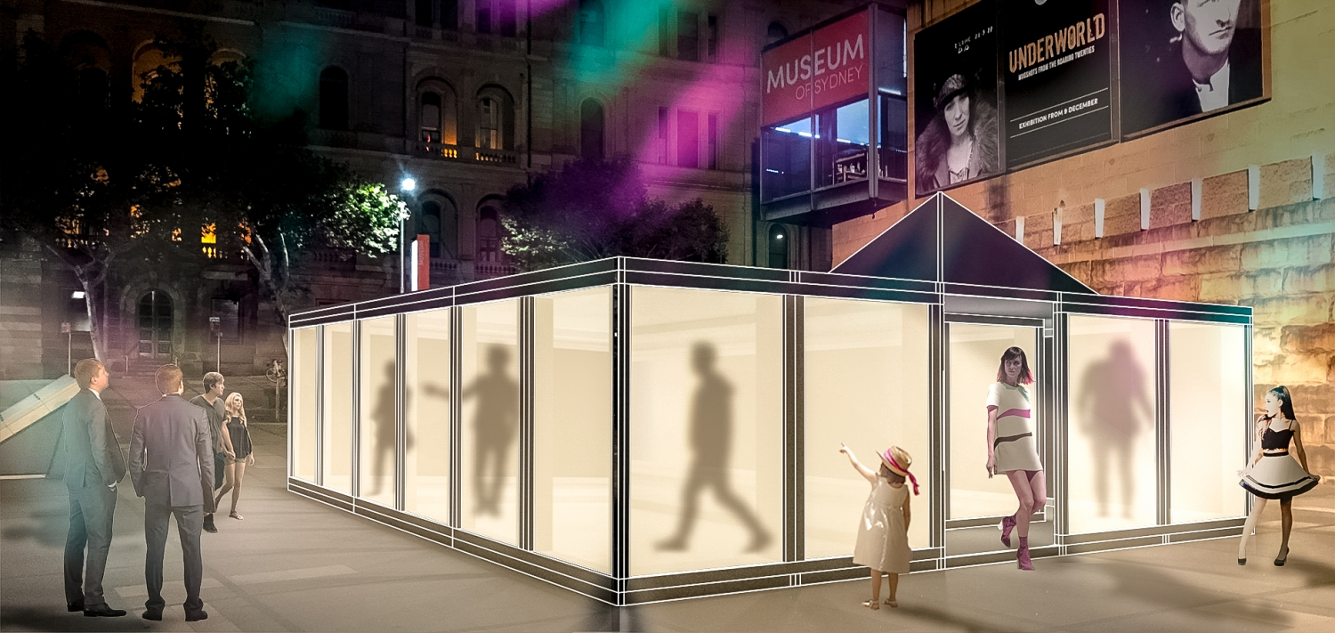Artist's impression of installation in Museum of Sydney forecourt.