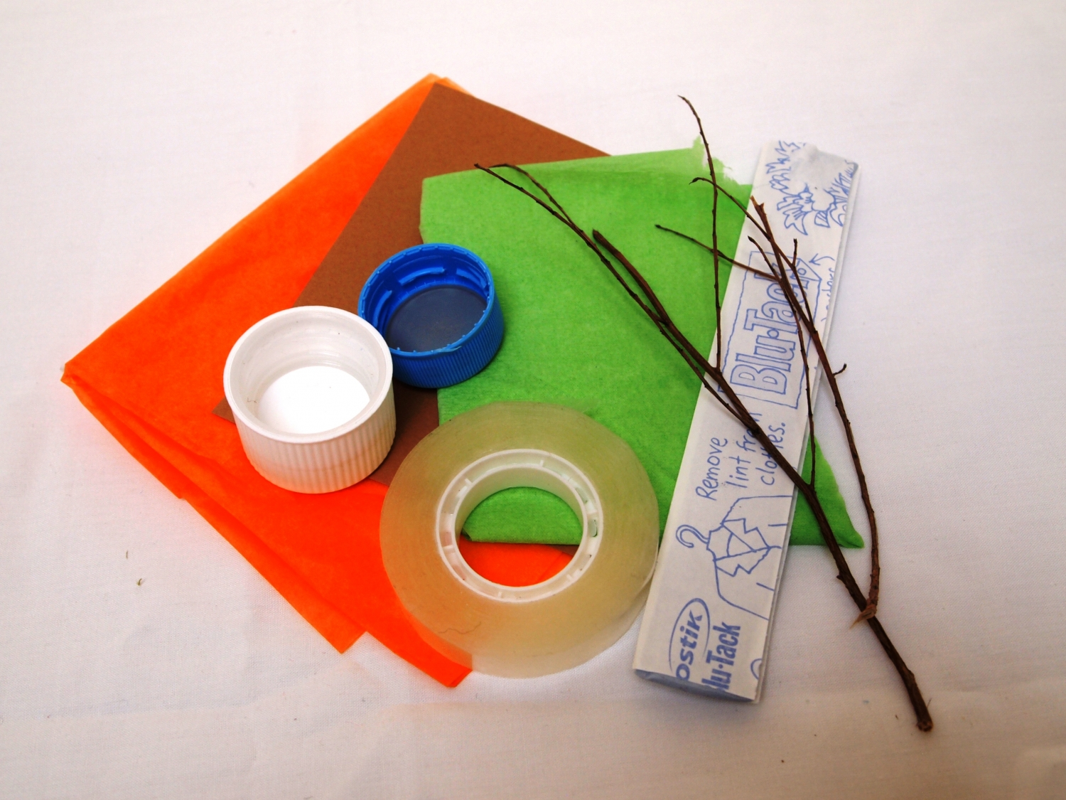 Craft resources: A drink bottle lid, tissue or crepe paper, sticky tape, blu-tac, twigs, scissors.