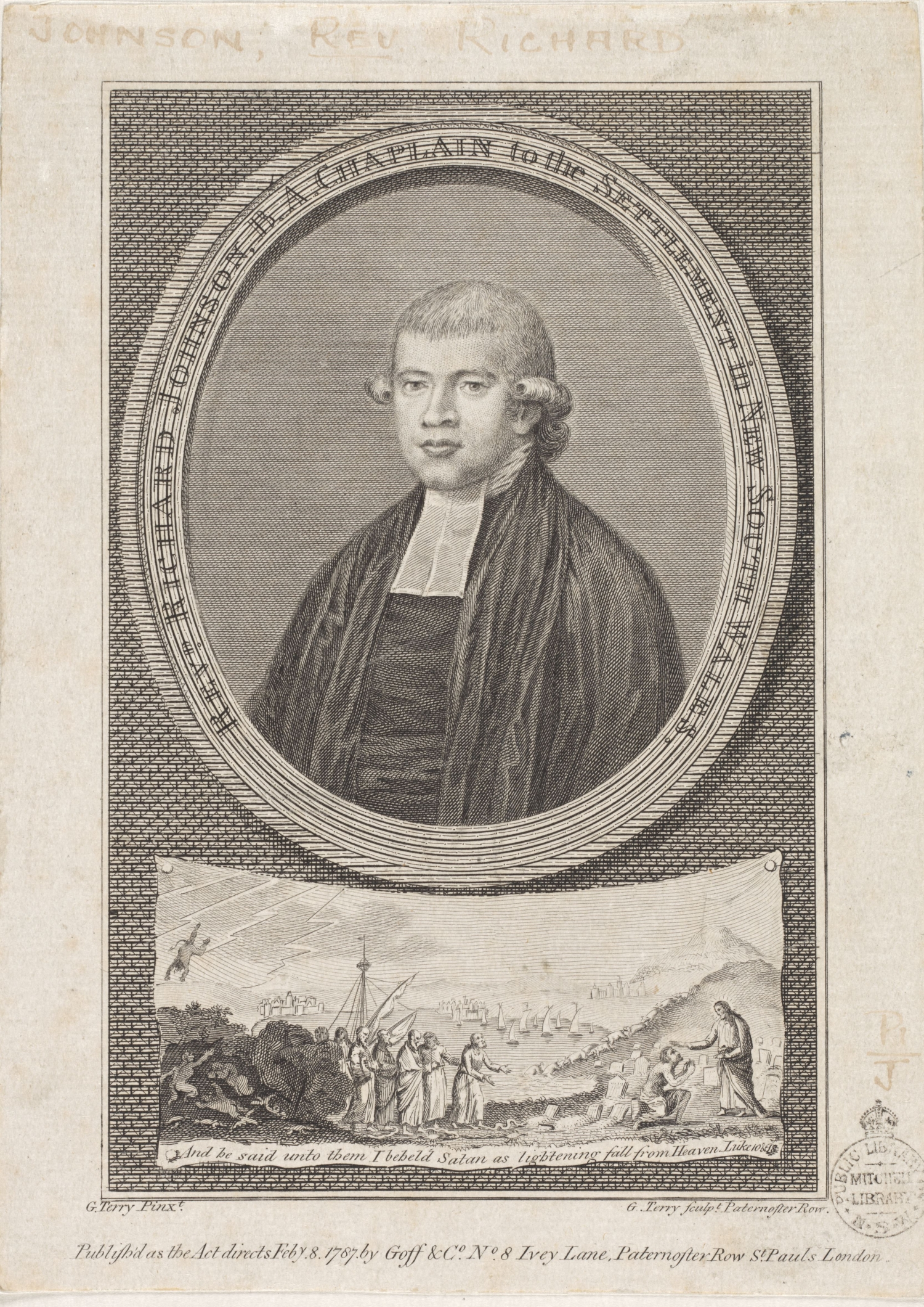 Portrait of Reverend Richard Johnson, first chaplain to the settlement of New South Wales.
