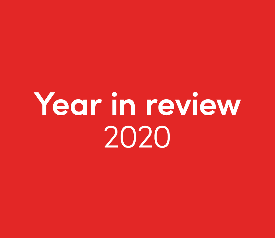 Red tile with white text: Year in review 2020.