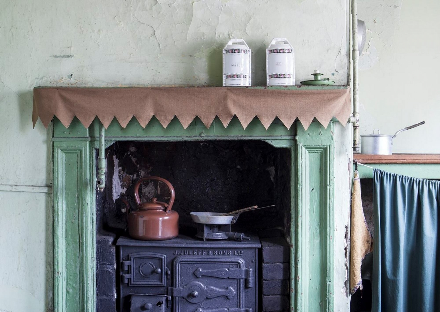 Detail view of the Juleff & Sons cast iron fuel stove in the kitchen at 60 Gloucester Street, The Rocks.