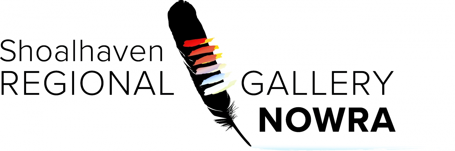 Name of gallery with colourful feather diagonally across logo.