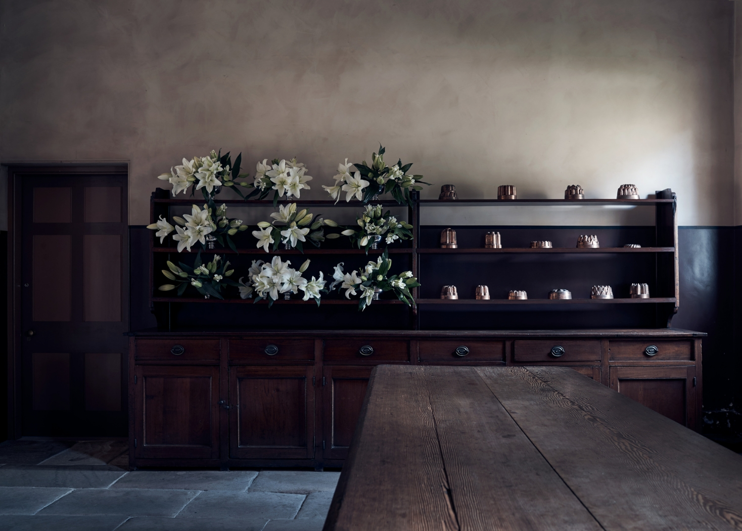 The buffet in the Vaucluse House kitchen featuring lillies by Dr Lisa Cooper