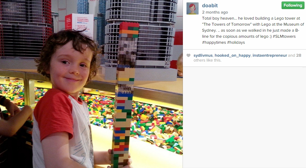 Young lad shows of his Lego skills