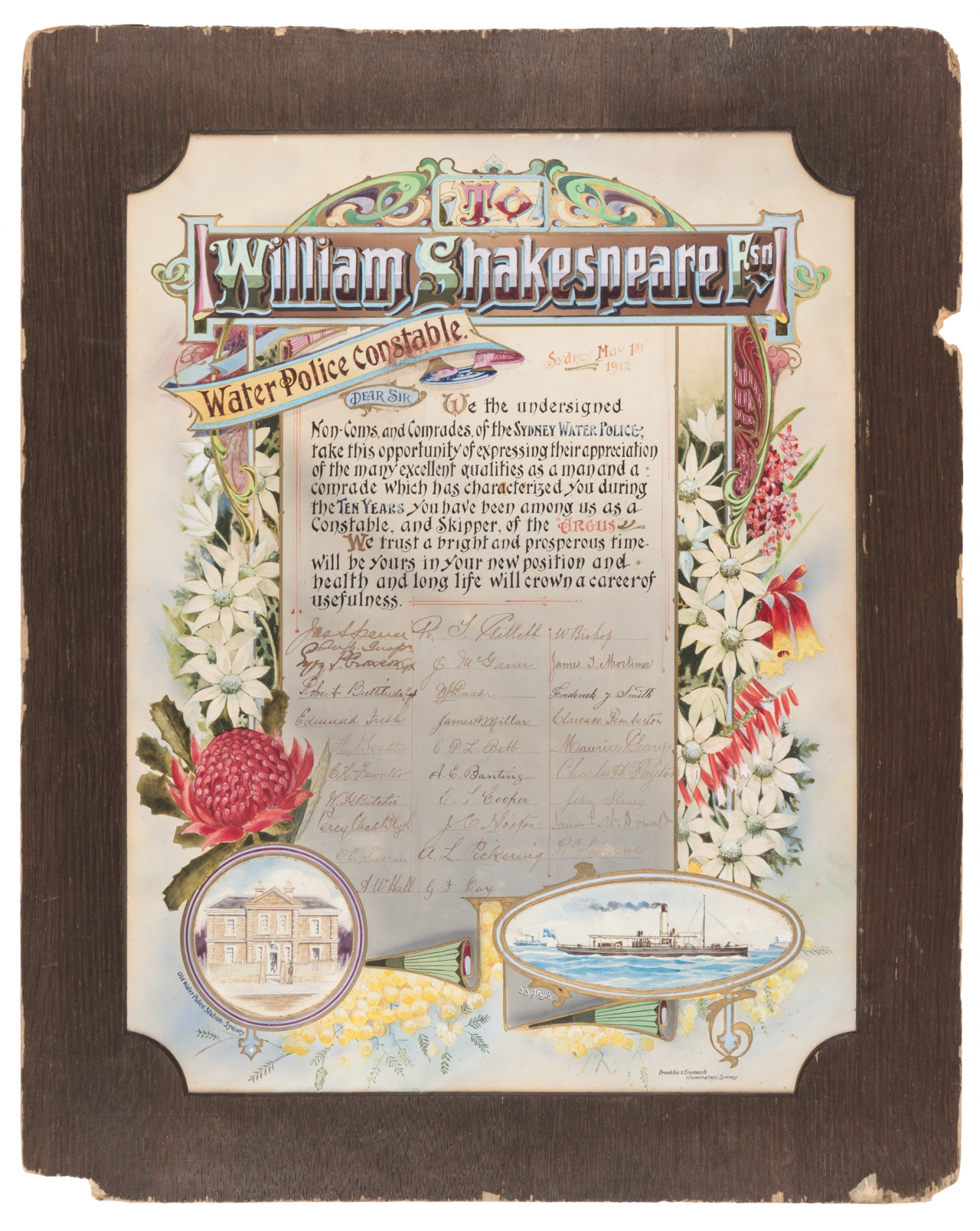 Colourfully ornate certificate with William Shakespeare's name at top.