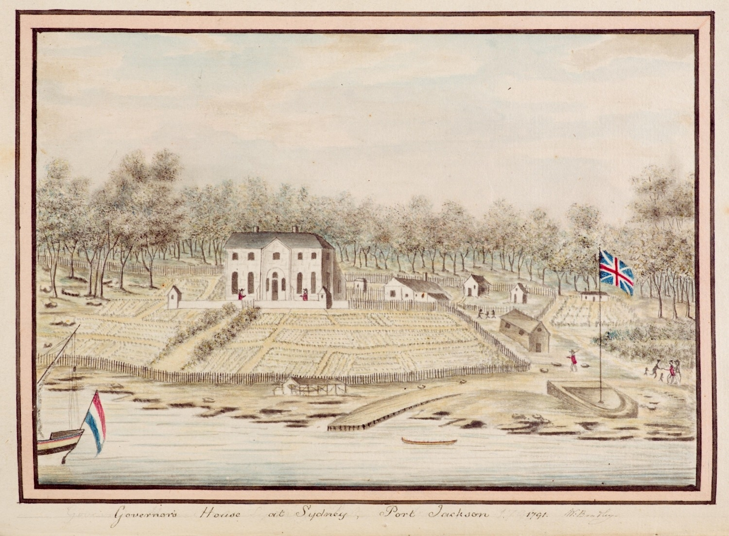 A 1791 drawing from William Bradley of First Government House Sydney