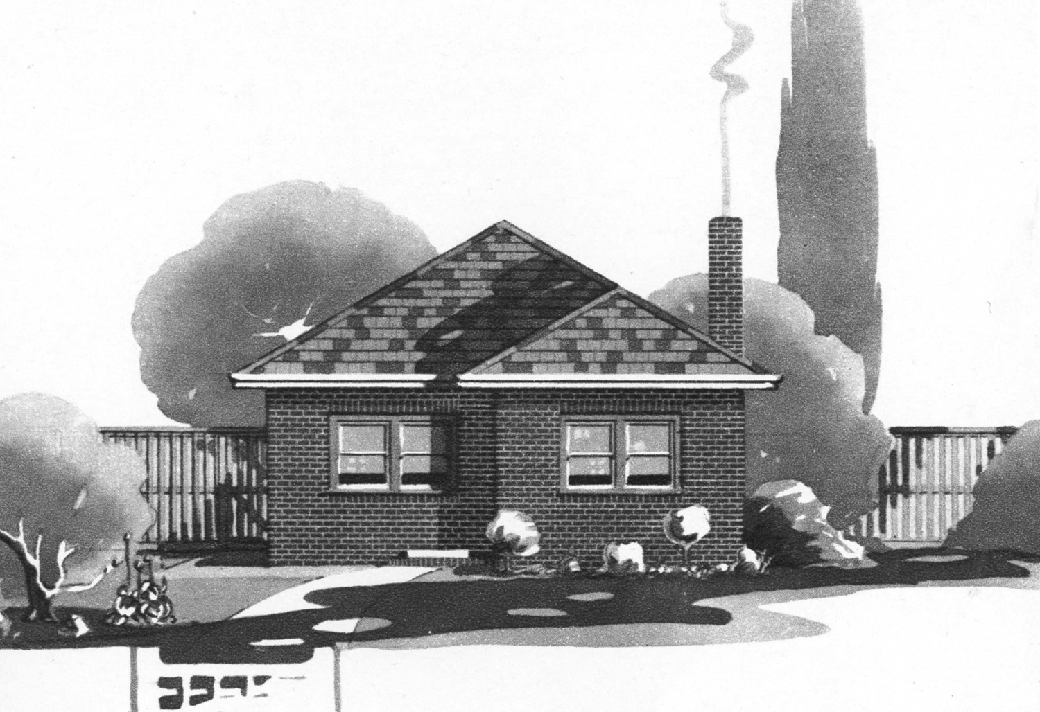 Grey scale illustration of brick house with fence behind and chimney with smoke.