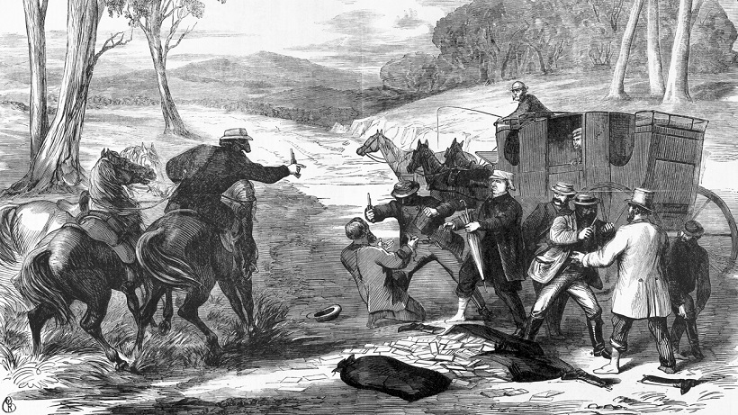 Black and white etching of bushrangers holding up men in horse drawn carriage