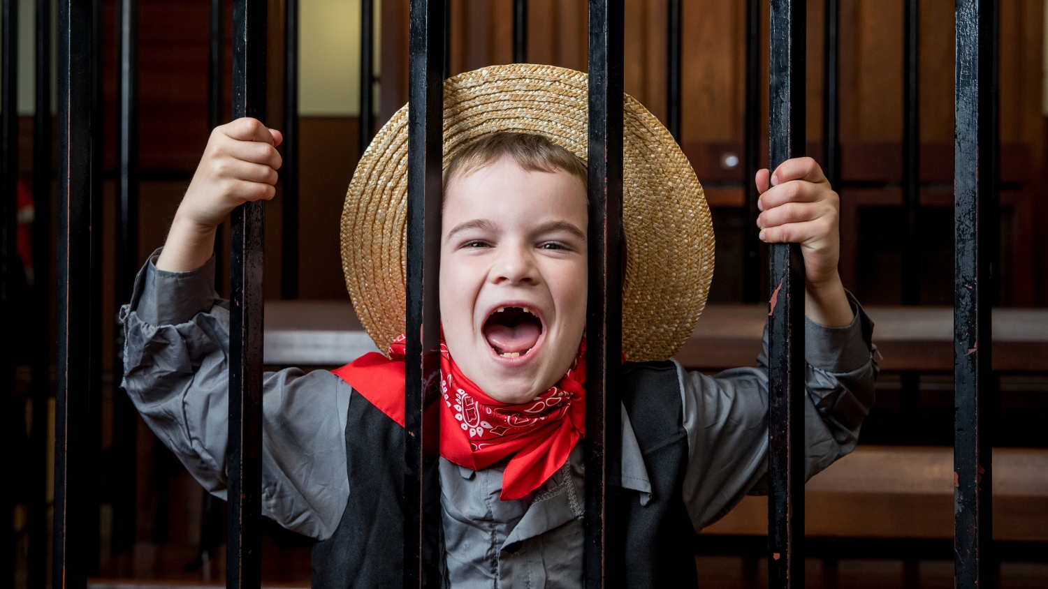Laughing child in costume behind bars.