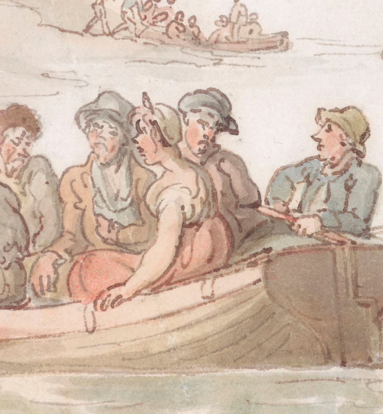 Illustration of convicts boarding small boats.