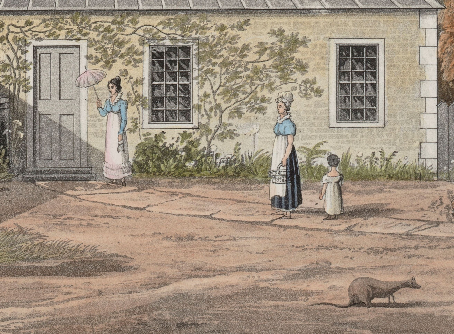 Colour illustration of women and a child in colonial Sydney.