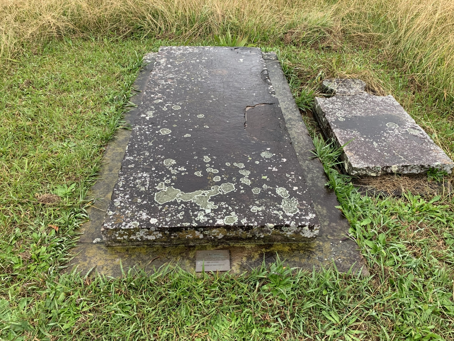The site of Henry Dodd's grave has a curved sandstone top which has blackened in the elements and got lichen growing on it