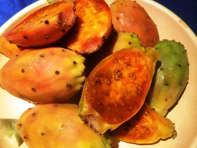 The dark yellows and oranges of the Prickly Pear fruit. Here we can see the inside of the fruit with its wets slimy center.