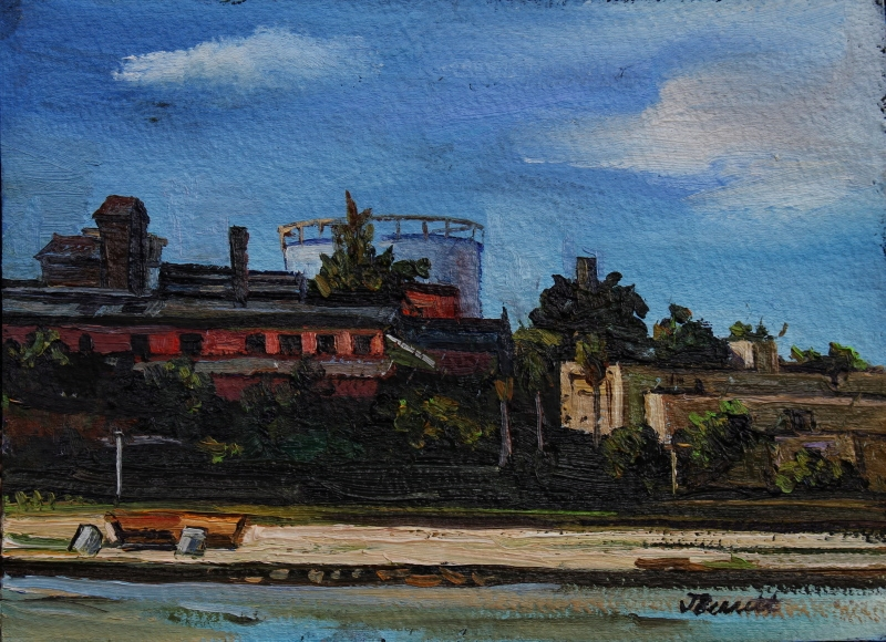 Oil painting of industrial buildings by Jane Bennett, 1990.