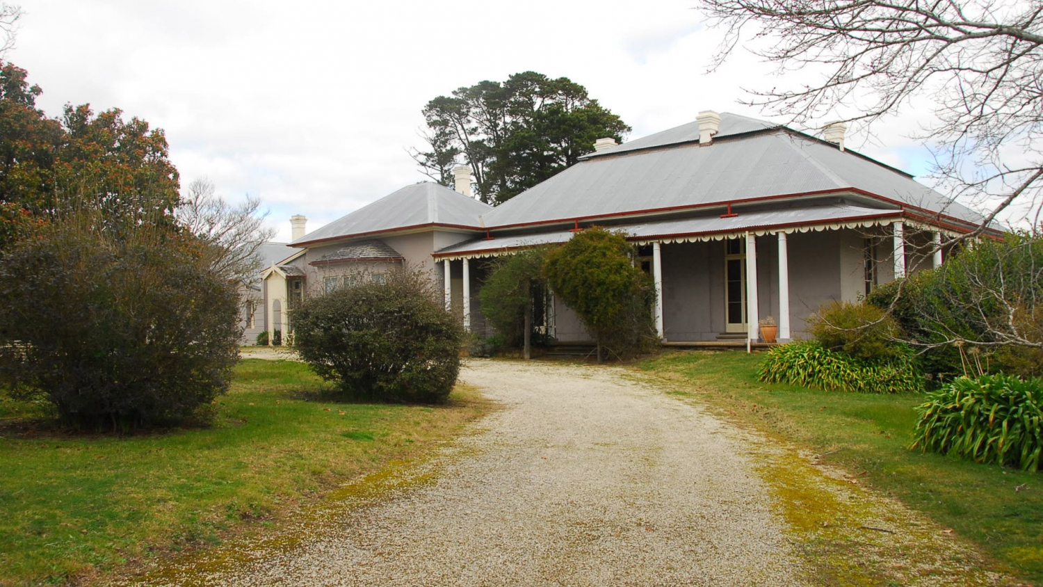 View along a gravel driveway looking towards a mauve painted bungalow house with large roof of corrugated metal and verandah with decorative timberwork under the outer gutters. There are busges and trees in the foreground and lush green grass on the lawn.