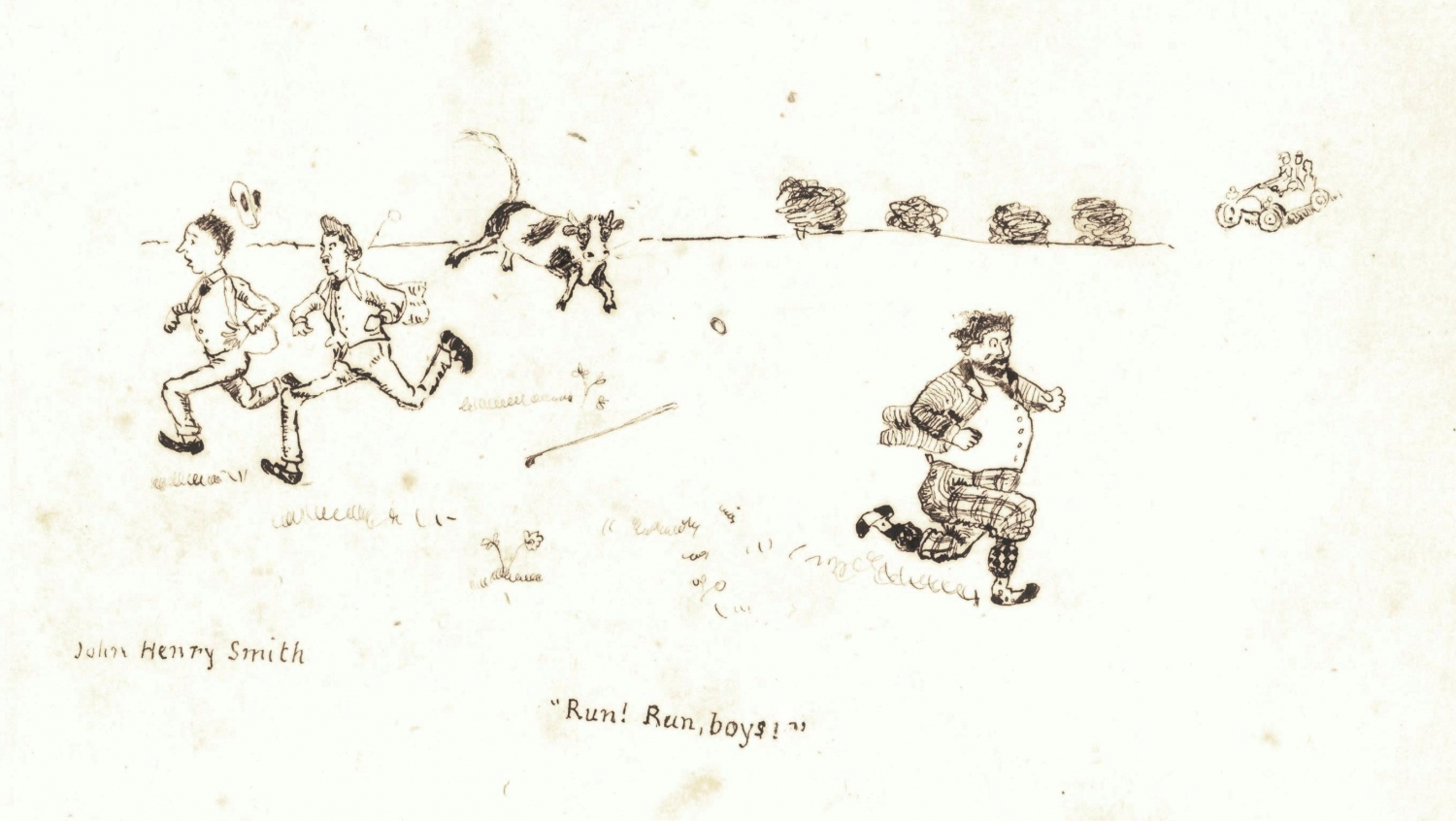 Sketch of men running from bull.