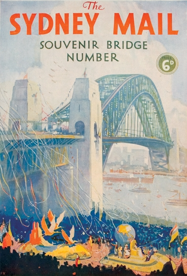 Colour drawing of the Bridge and harbour with streamers flowing from the Circular Quay side.