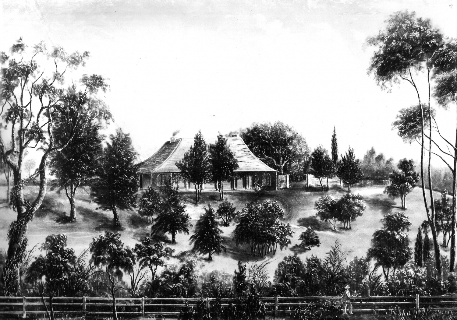 Black and white drawing of high roofed farmhouse with verandah and courtyard to the right surrounded by trees and garden grounds, with a fence in the foreground and two men talking to each other.
