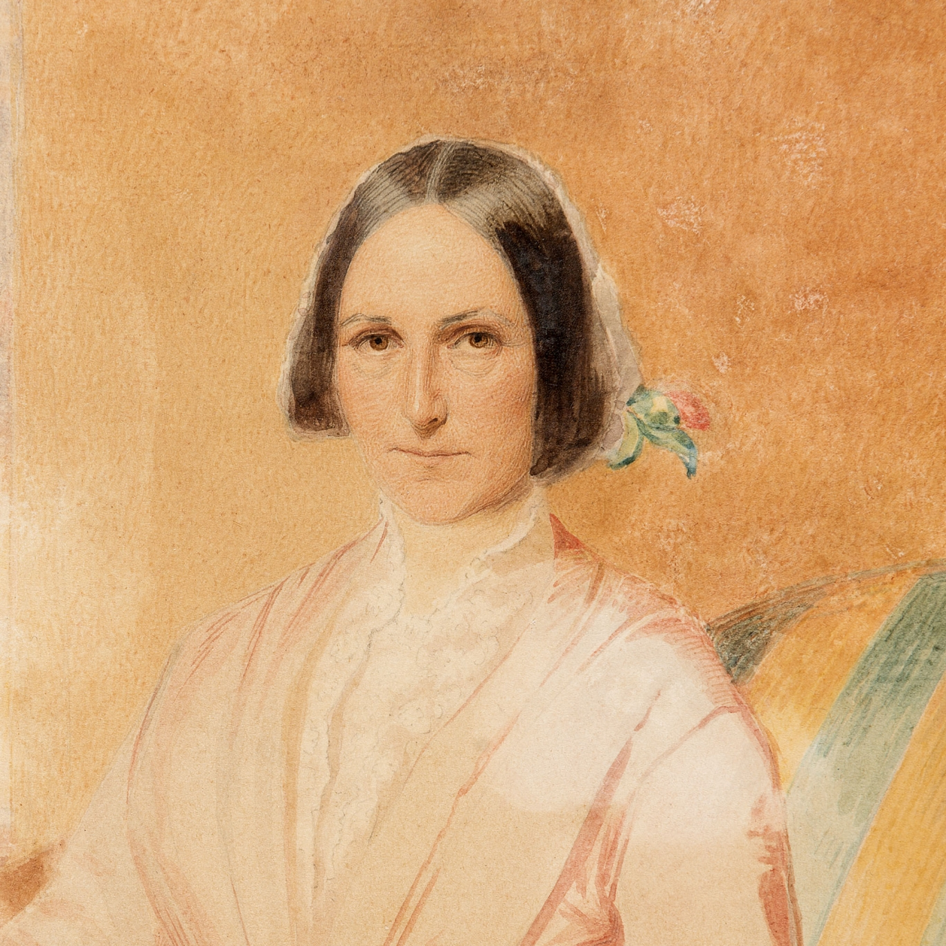 Light-coloured portrait of young woman with dark hair wearing high collared dress.