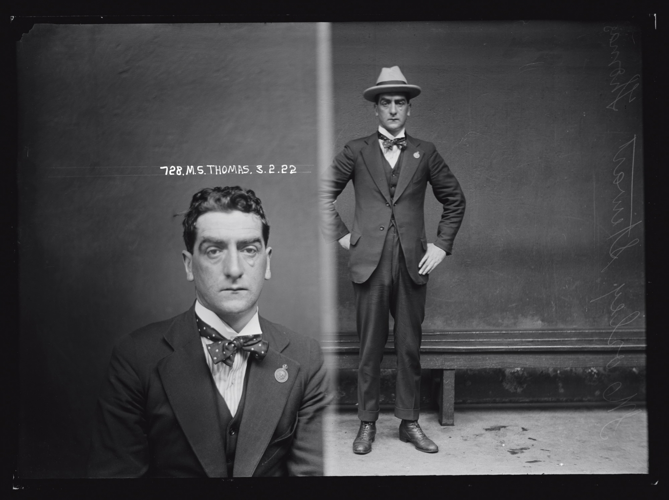 Dual black and white mugshot; man seated, left and standing with hat on, right.