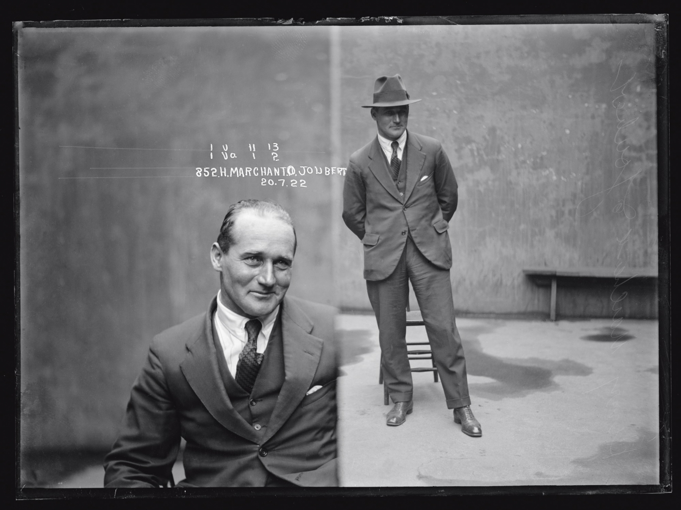 Black and white dual mugshot. Man, seated, left, standing with hat on, right.