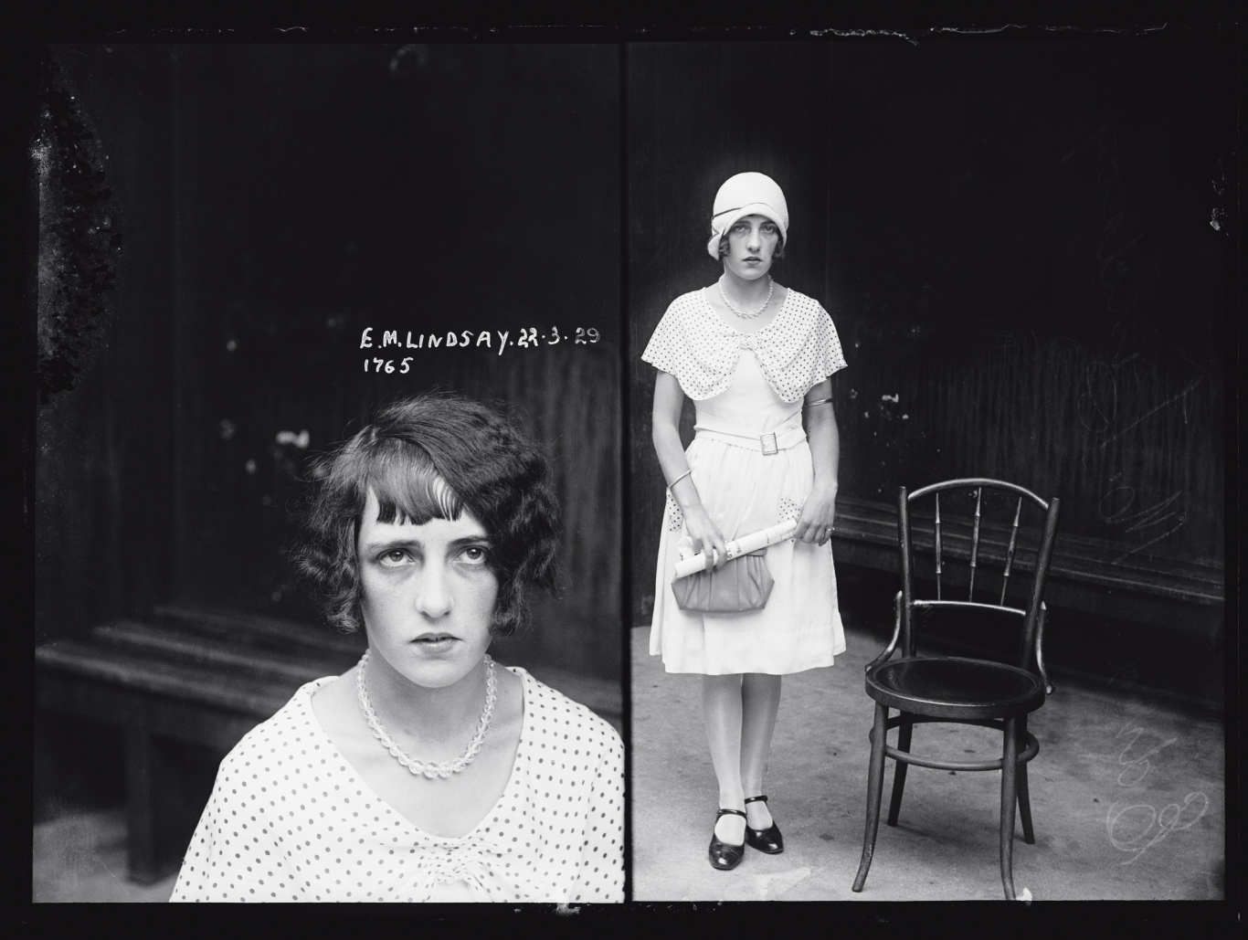 Dual mugshot in black and white; woman seated, left, standing with hat on, right.