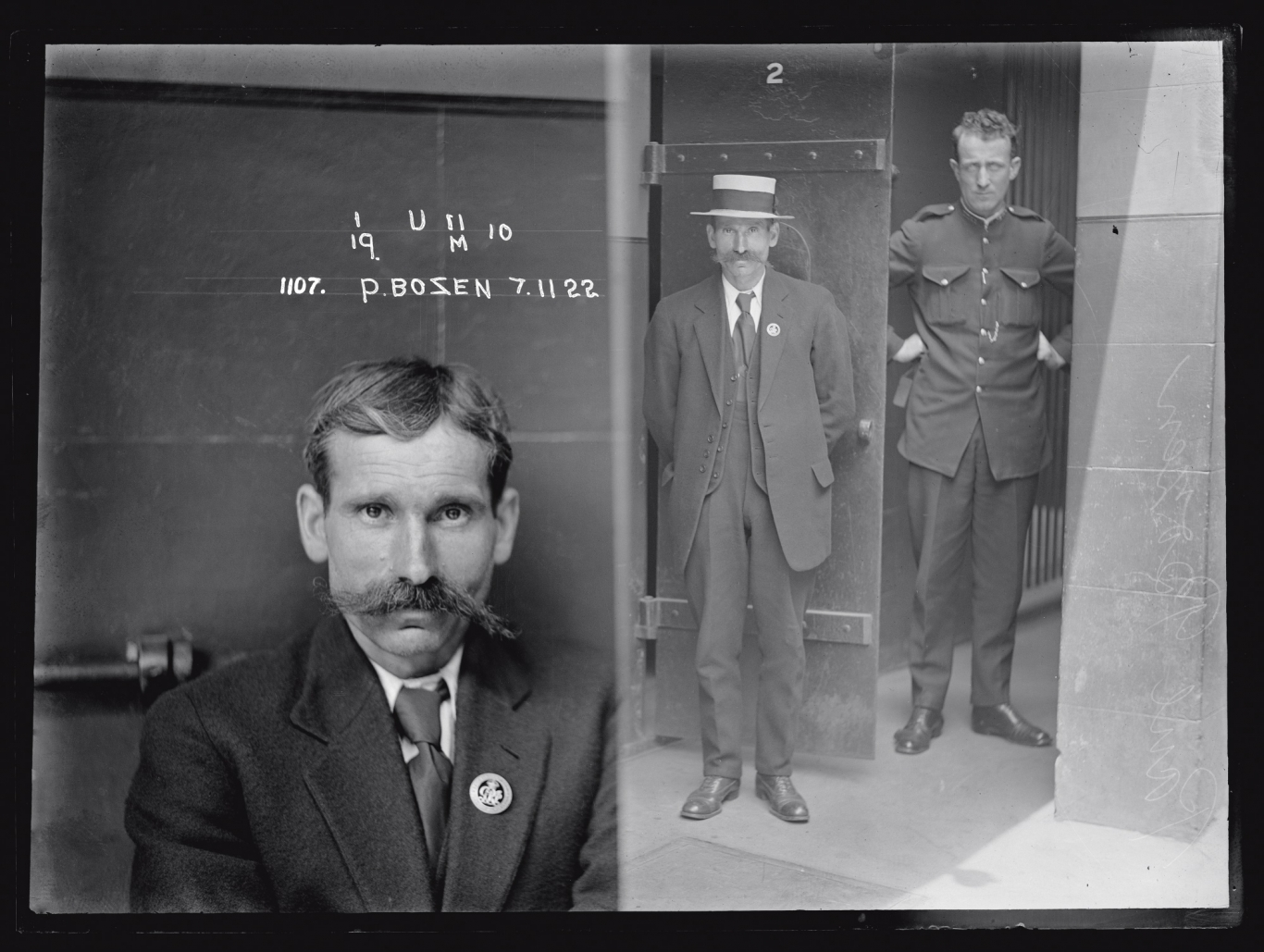Dual mugshot; man seated, left and standing with hat next to police officer, right.