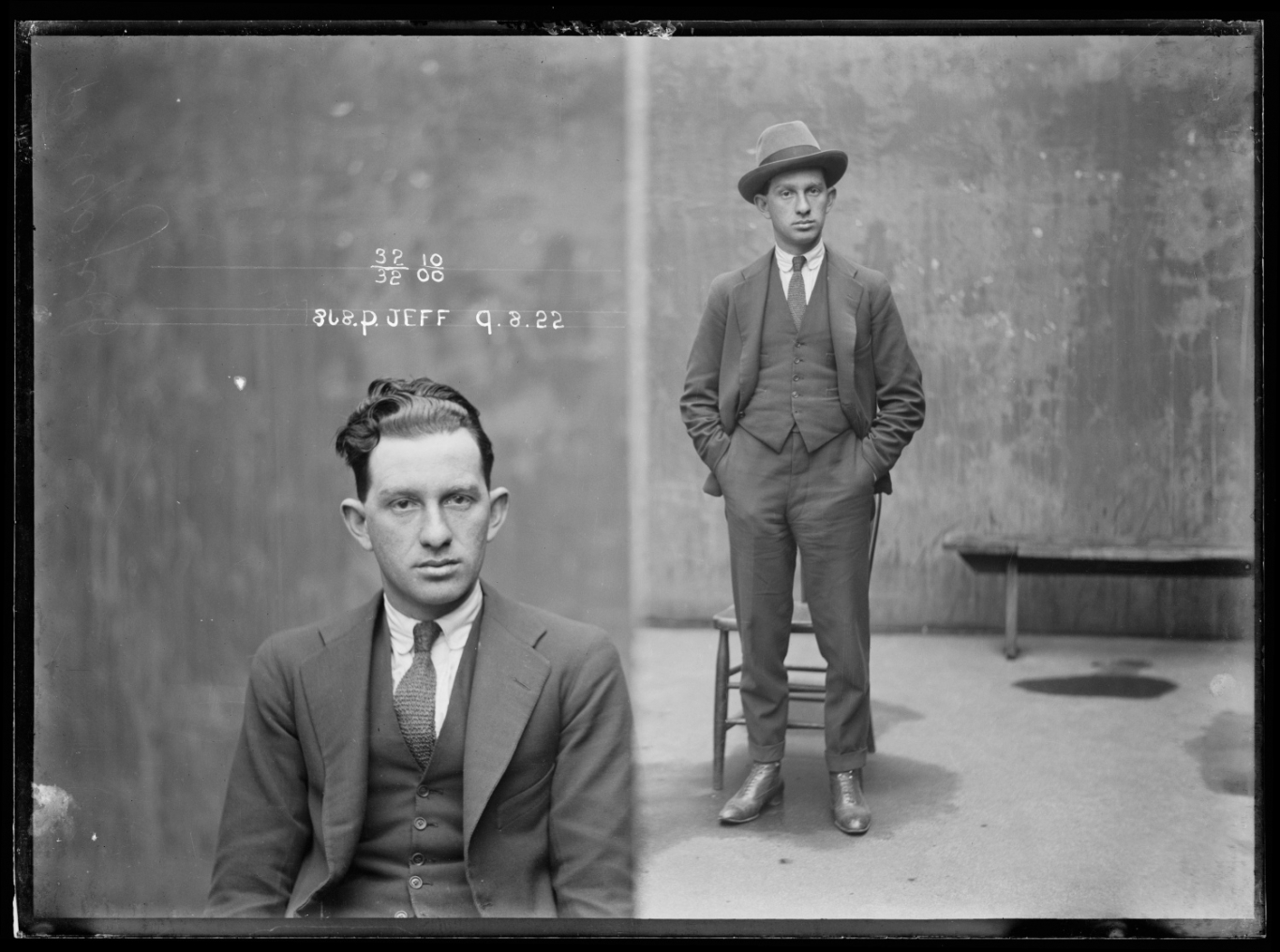 Black and white dual mugshot of man seated with hat off (left) and standing with hat on (right). Text inscribed onto image.