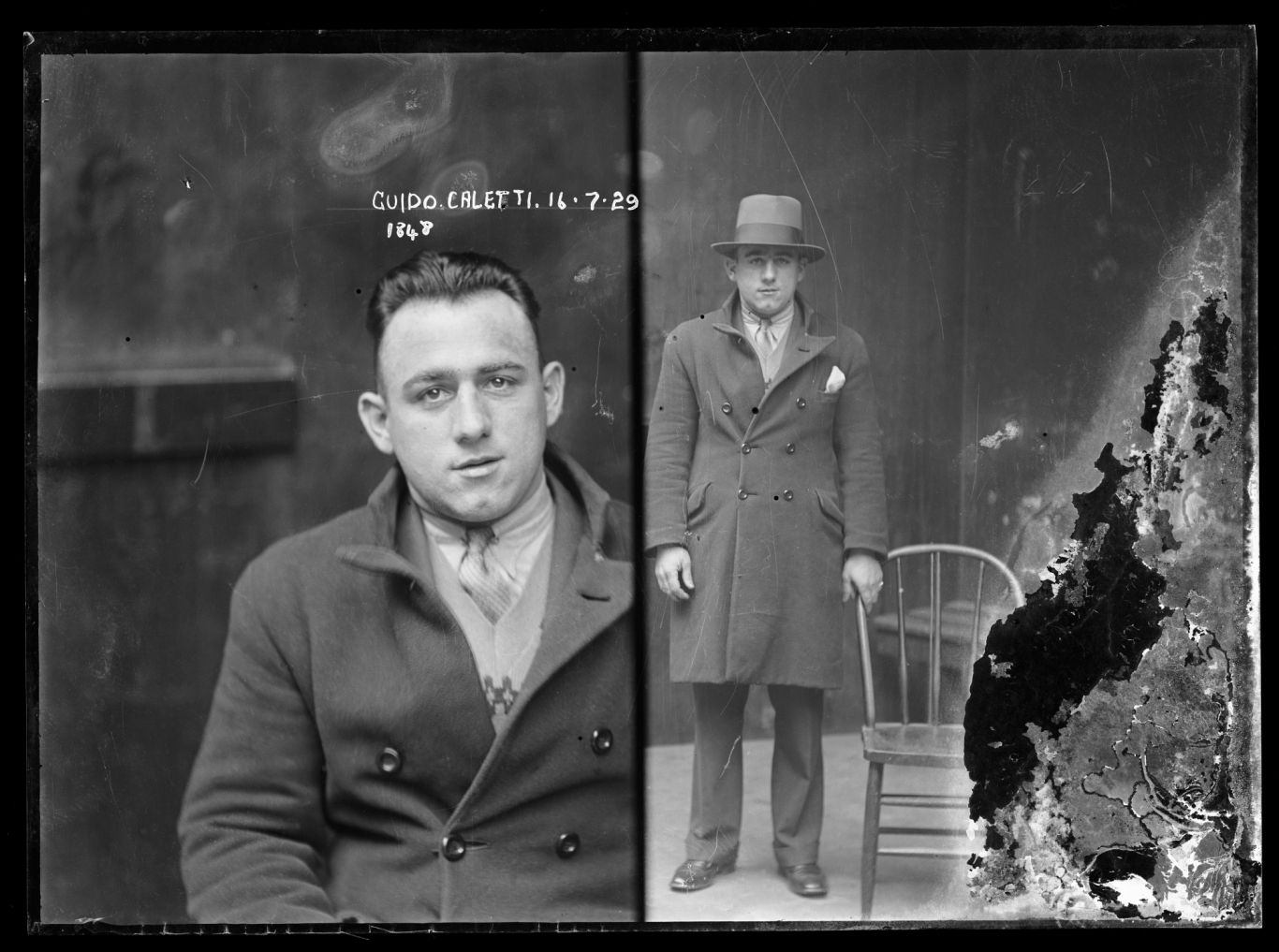 Black & white dual mugshot, with man seated (left) and standing (right), with inscription.