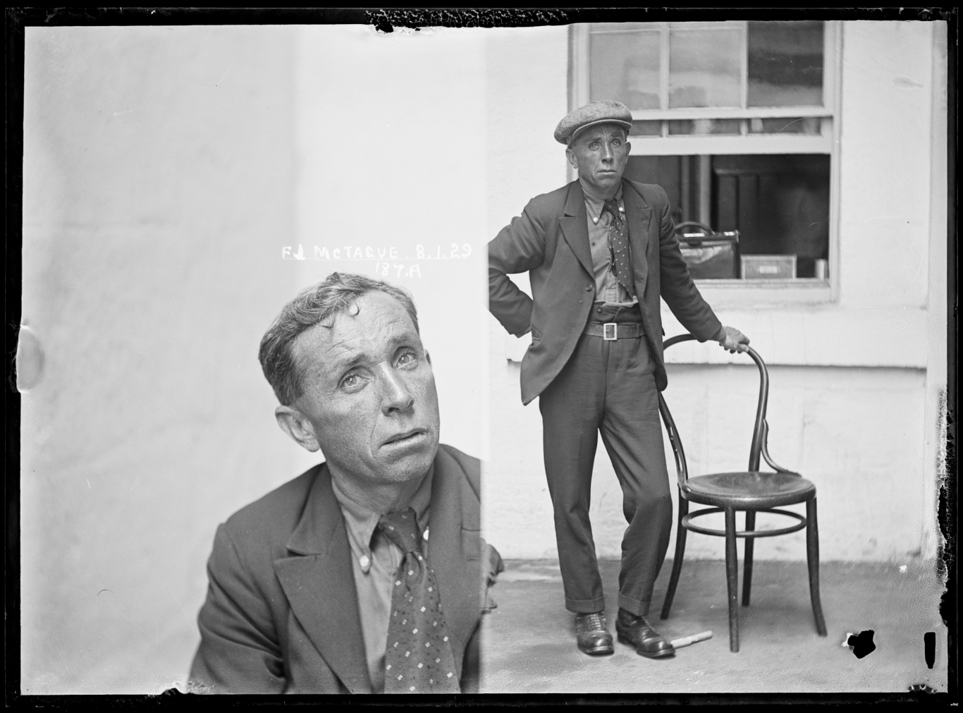 Dual mugshot in black and white; man seated and then man standing, with hat on. Photographer's bag sitting on window sill behind man.