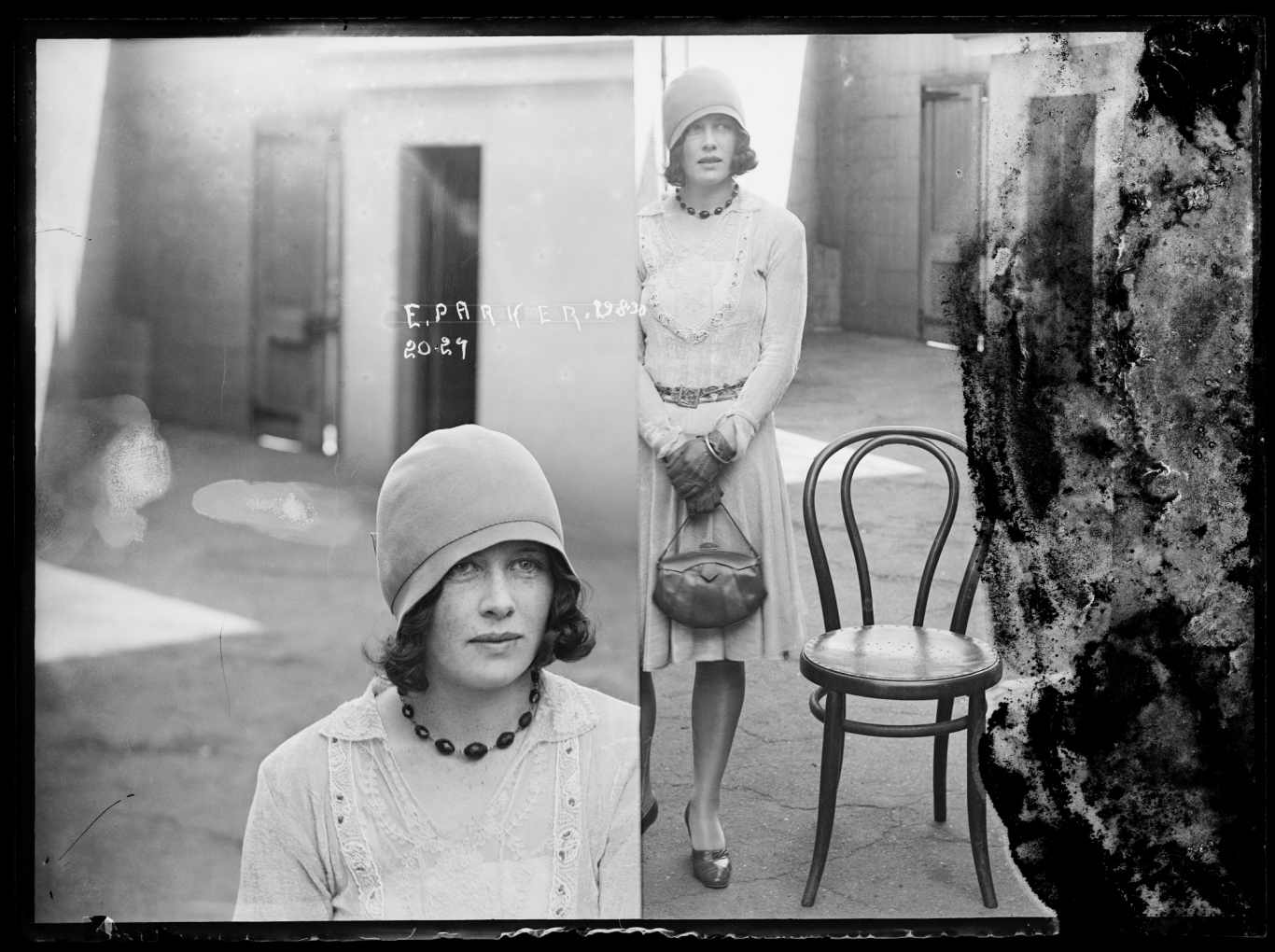 Dual mugshot in black and white; woman seated on left, standing on right. Photo quite damaged.