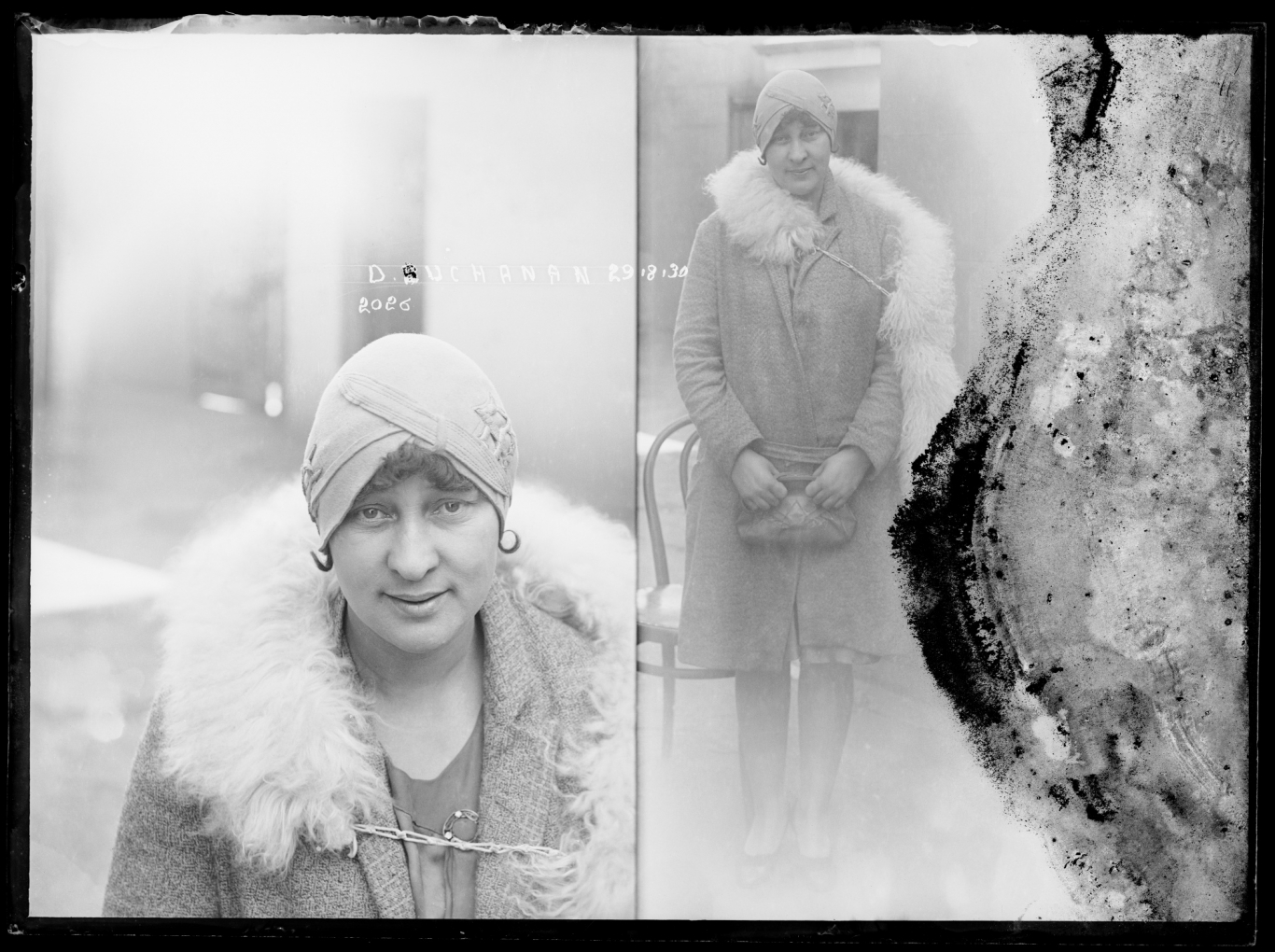 Dual mugshot, woman wearing fur stole and flapper hat, seated, left, standing, right. This image quite faded and partially damaged.