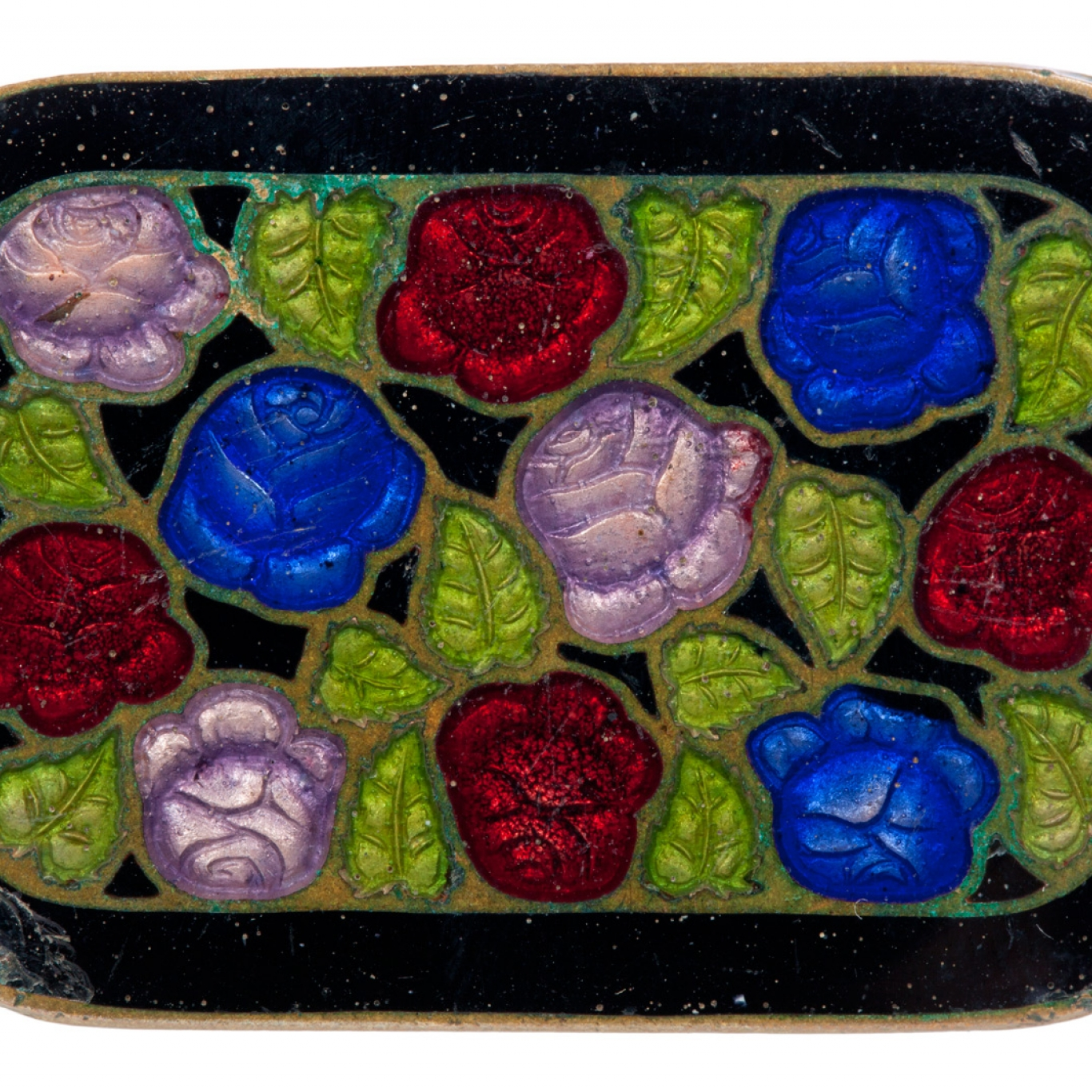 A brooch made of cloisonné enamel on brass with a design of blue, pink and red flowers and green leaves.