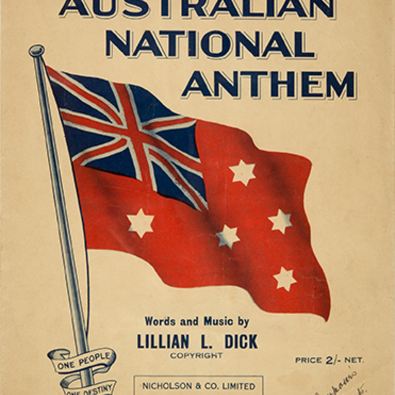 The red ensign version of the Australian flag on cover of sheet music book.