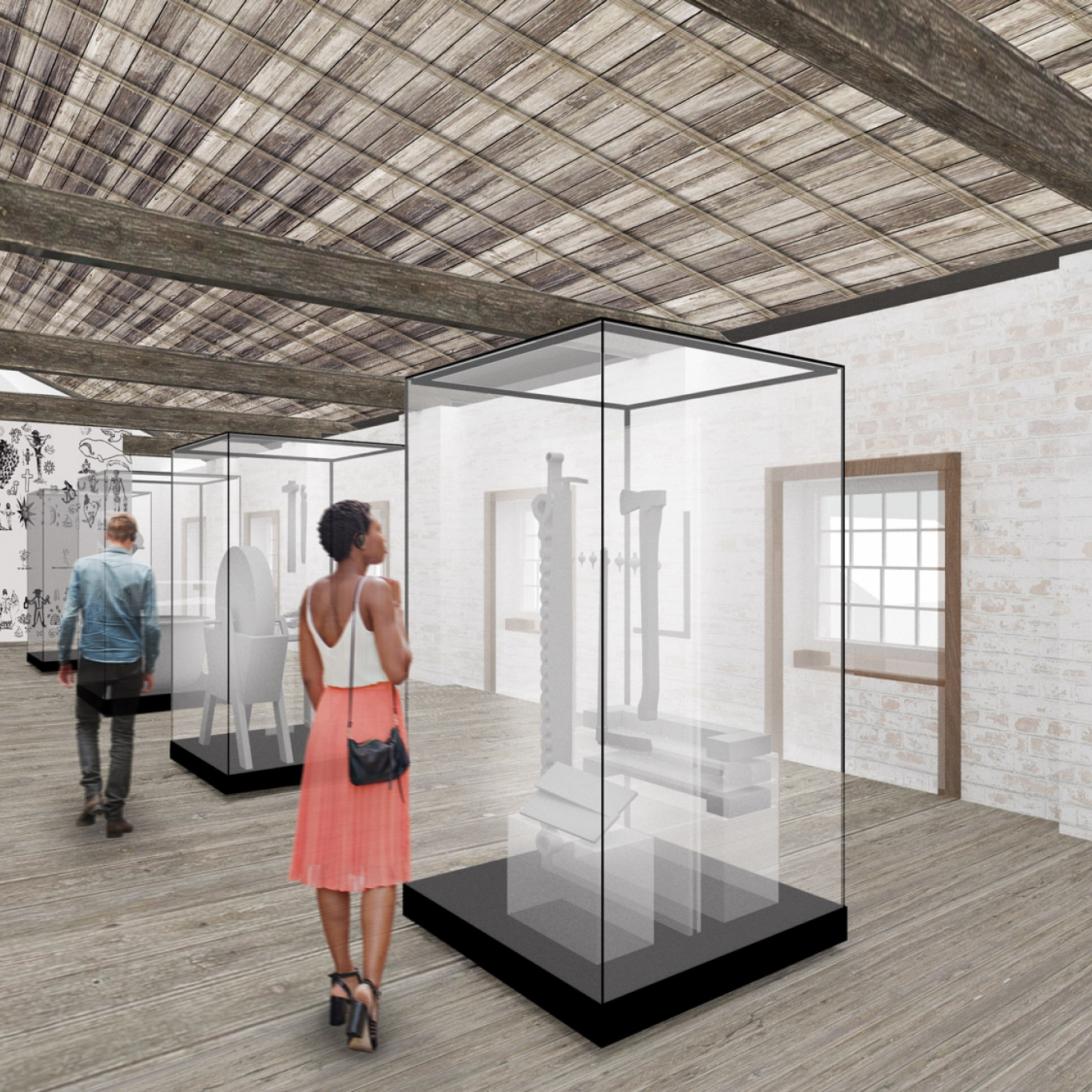 Artist's rendition of white painted room with exposed ceiling beams, with showcases and people for scale.