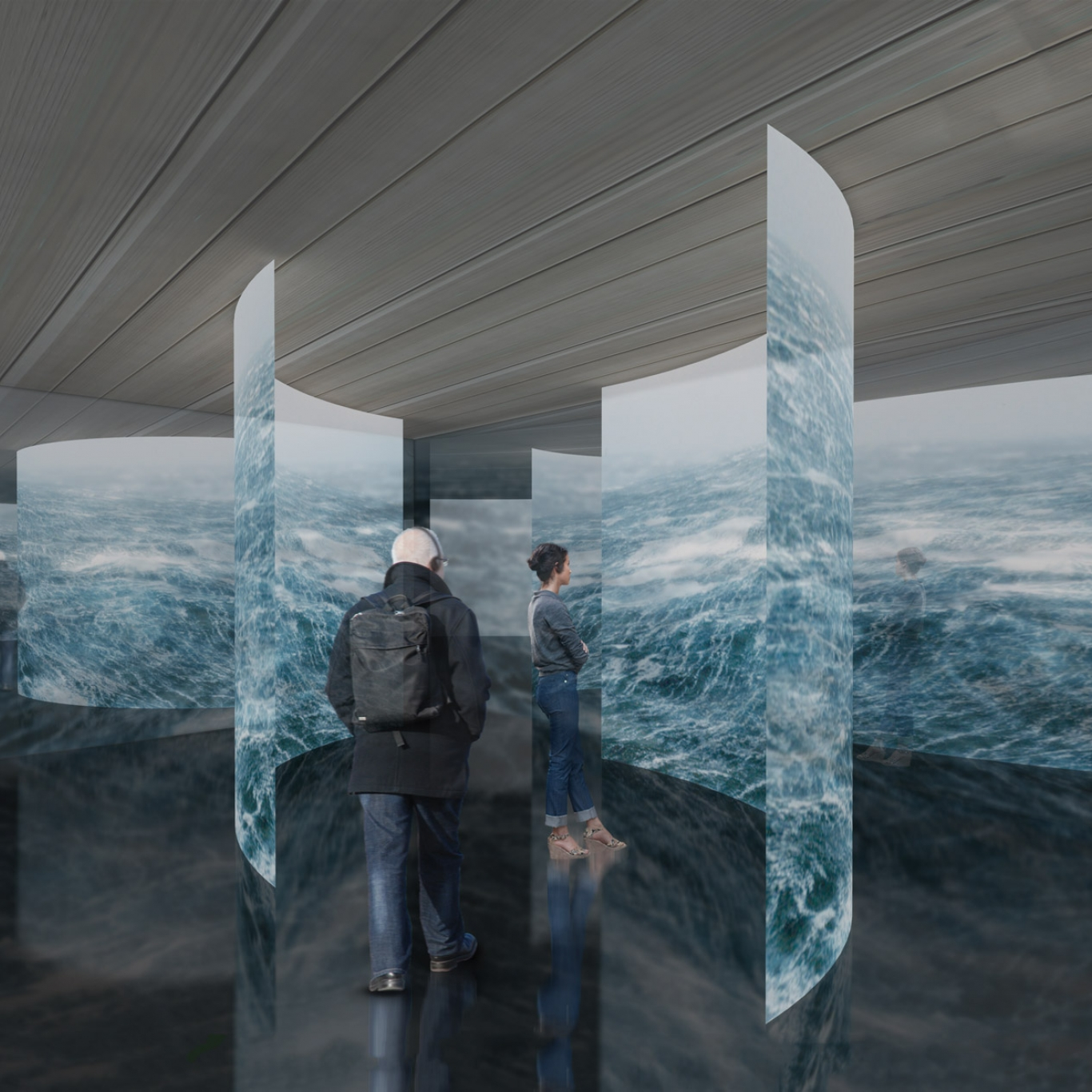 Artist's rendition of series of curved blue ceiling to floor panels with people in middle for scale.