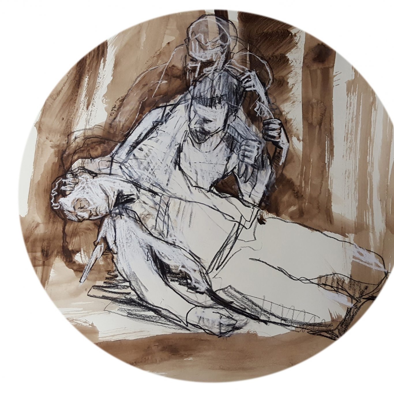 Circular cropped hand-drawn image of man holding another man who is prone on the ground.