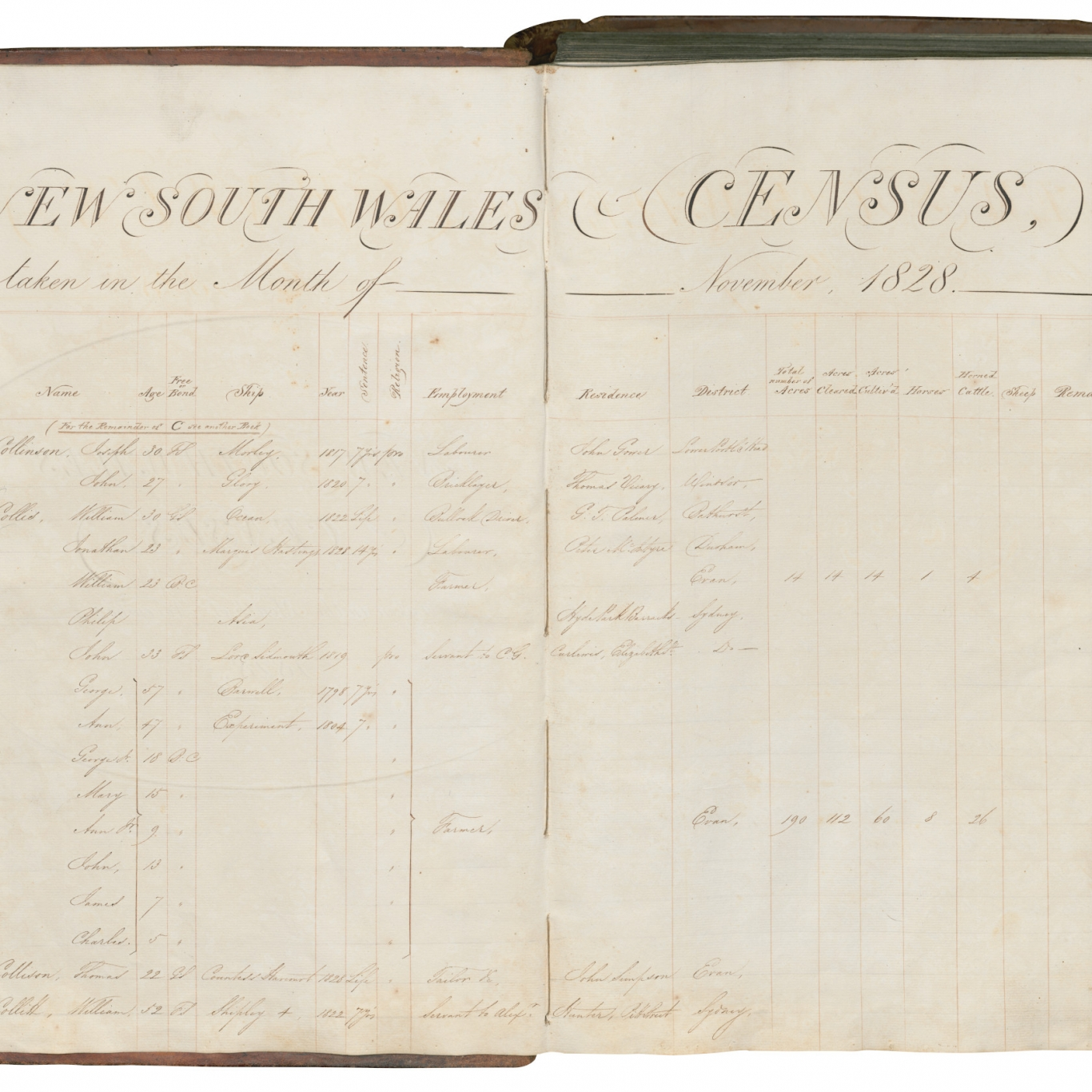 Ornately lettered two page spread of census document.