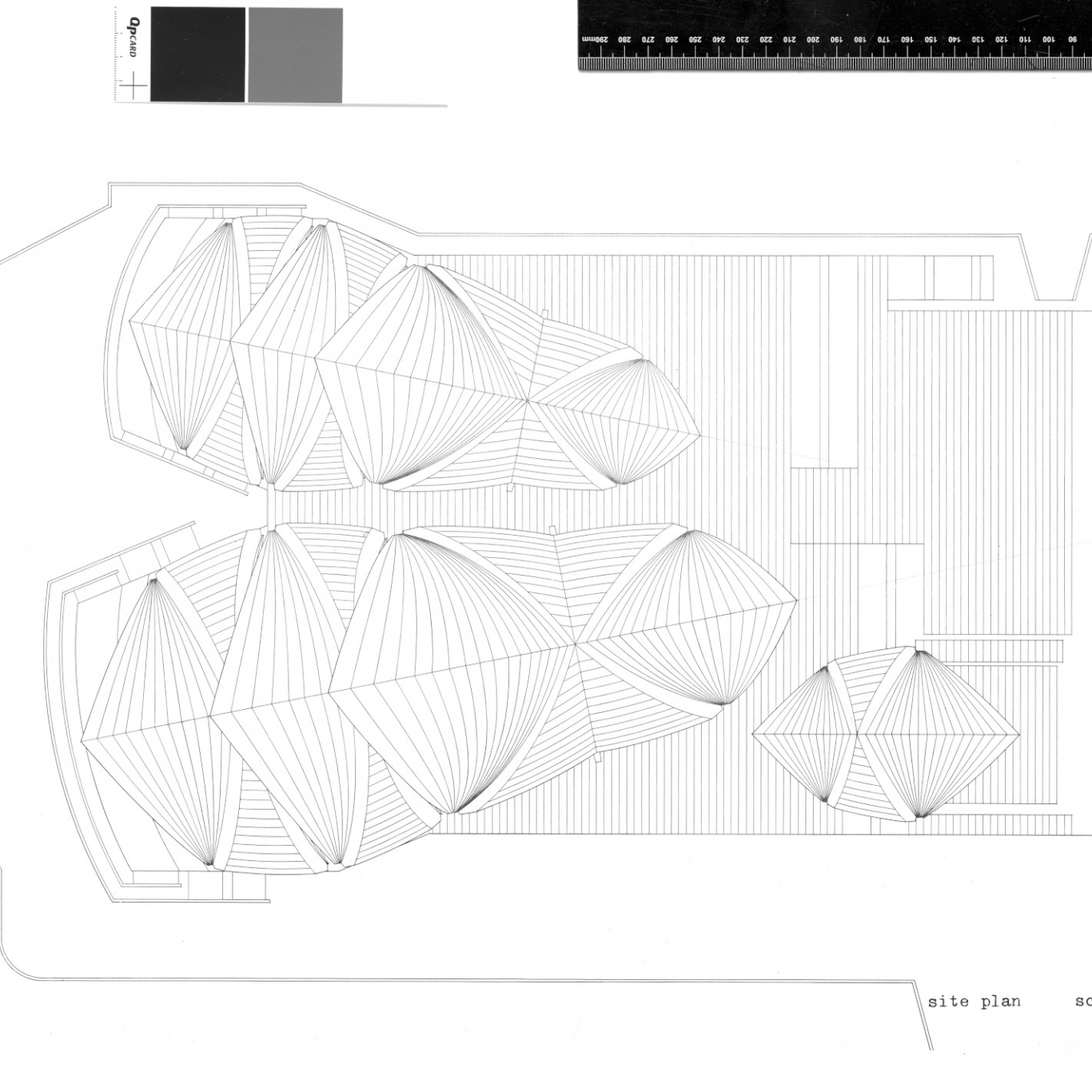 Plan of building from above, with scale shown.