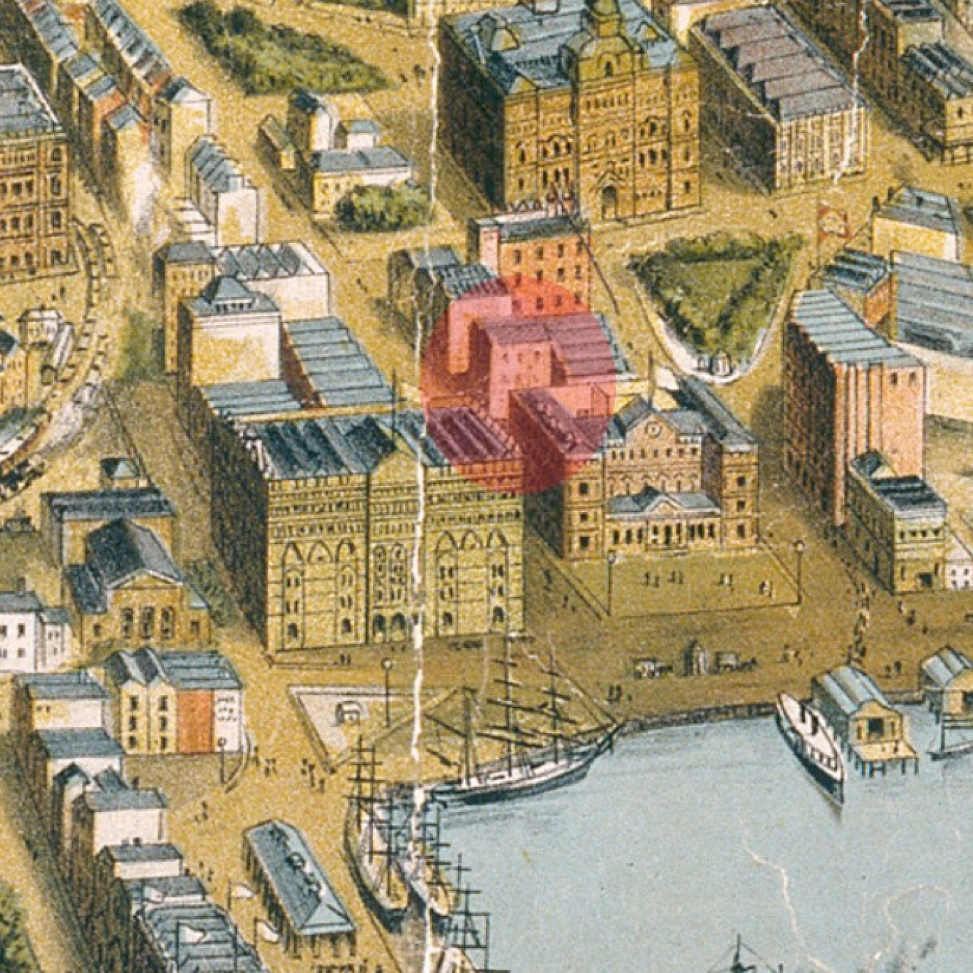 Colourful map with red shaded area to indicate location of building.