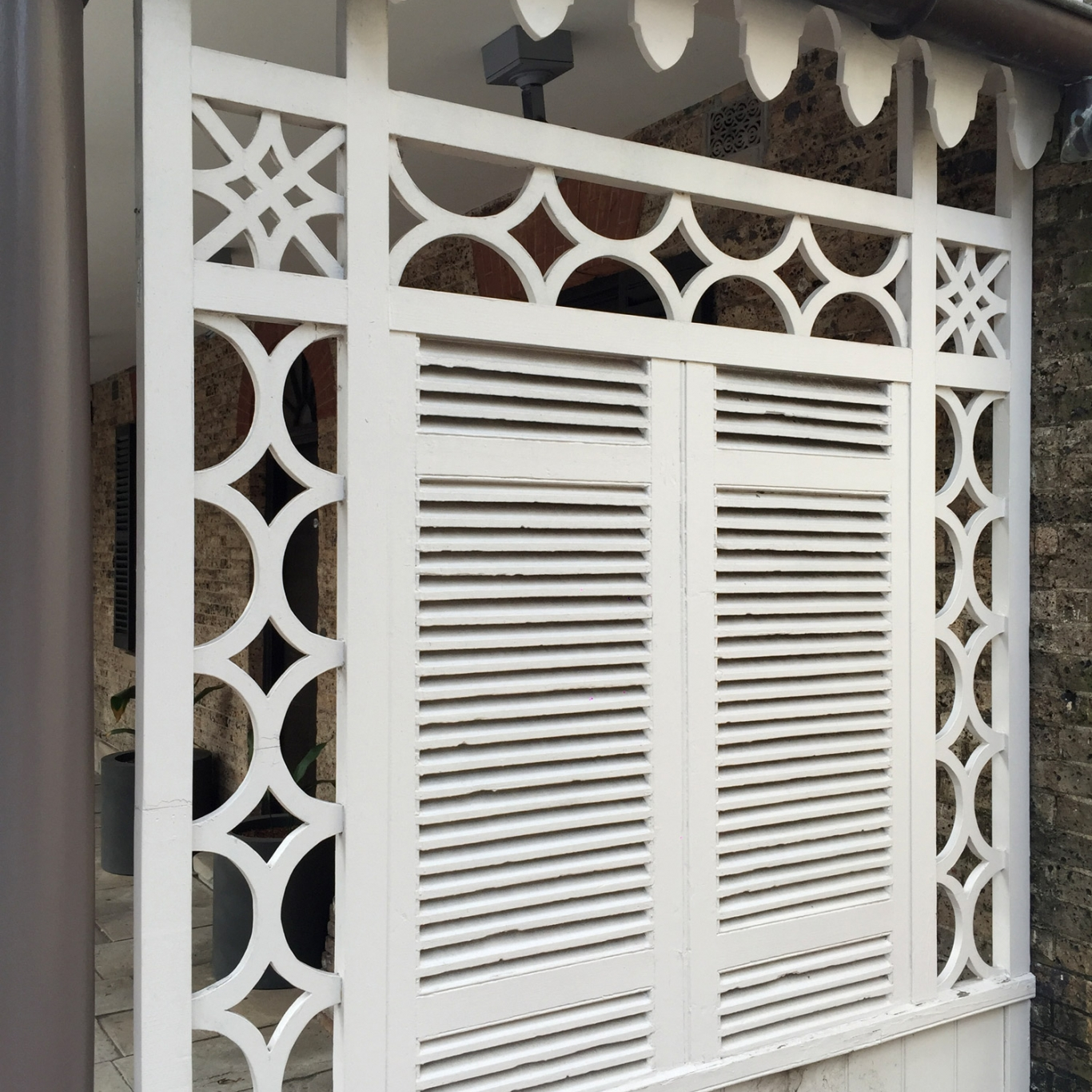 White painted screen.