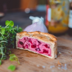 Photo of a piece of a beetroot pie