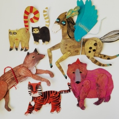 Collection of colourful animal cutouts.