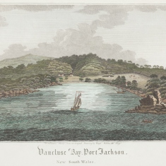 Detail view of handcoloured engraving with boat in centre of bay.